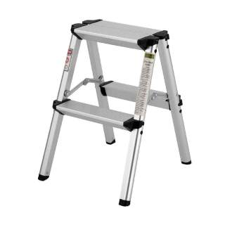 2 Step Aluminium Portable Folding Ladder 150kg