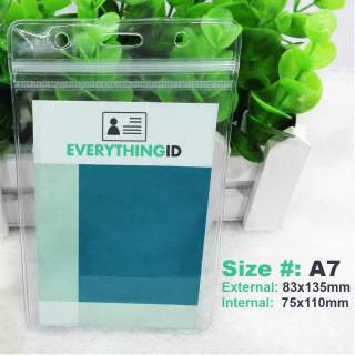 A7 Vinyl Card Holder Clear Vertical Portrait Zip Lock Press Seal