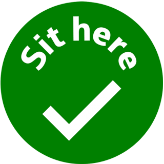 Social Distancing Vinyl Seat Table Wall Marking Sign Sticker - Sit Here