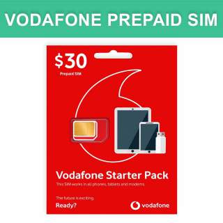Vodafone $30 Prepaid Sim Card Starter Kit Pack