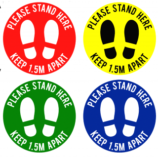Social Distancing Floor or Carpet Sticker Indoor or Outdoor Marking Sign Decal - Please Stand Here