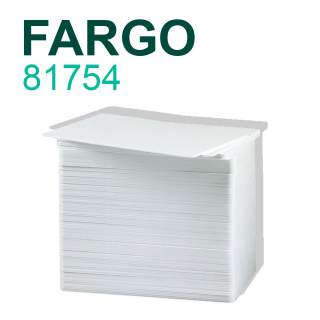 HID Fargo 81754 100 Pack UltraCard CR-80 0.76mm PVC Blank White Cards