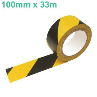Hazard Safety Stripe Extra Wide PVC Tape Black & Yellow 100mm x 33m
