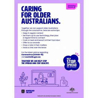 Social Distancing Entrance Wall Poster / Window Door Sticker / Corflute Sign - Caring For Older Australians
