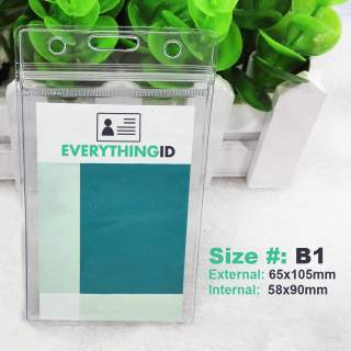 B1 Vinyl ID Card Holder Clear Vertical Portrait Zip Lock Press Seal