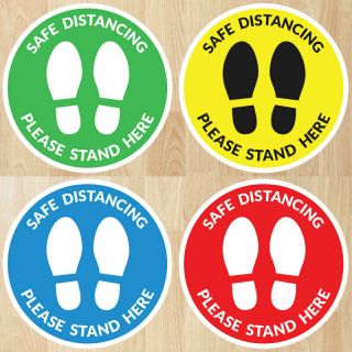 Social Distancing Vinyl Indoor Floor Marking Sign Sticker Decal - Please Stand Here Safe Distancing