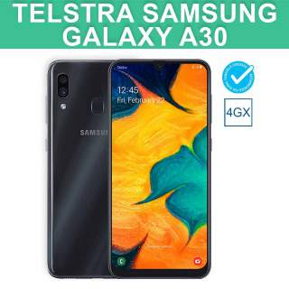 Telstra Samsung Galaxy A30 Blue Tick 4G 4GX 32GB Black Android Mobile Phone