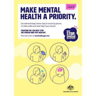 Social Distancing Entrance Wall Poster / Window Door Sticker / Corflute Sign - Make Mental Health a Priority