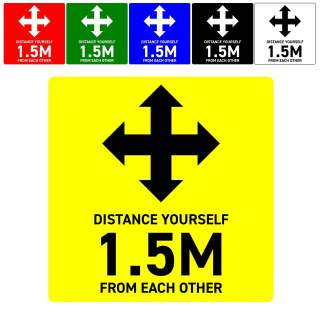 Social Distancing Floor or Carpet Sticker Indoor or Outdoor Marking Sign Decal - Distance Yourself