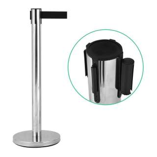 Retractable Belt Queue Crowd Control Barrier Stainless Steel Post Pole Stanchion