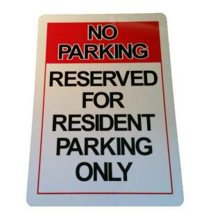Reserved for Resident Parking Only Aluminium Sign Outdoor Weatherproof 315 x 220 mm