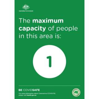 Social Distancing Entrance Wall Poster / Window Door Sticker / Corflute Sign - Maximum Capacity In This Area