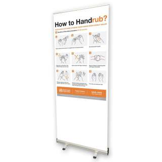 Social Distancing Pull Up Banner Sign - How to Handrub?