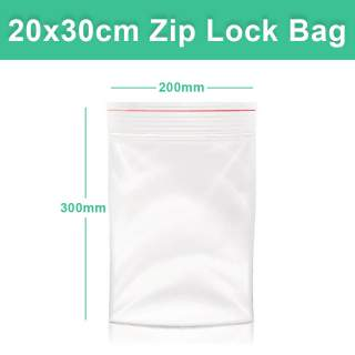 Resealable Zip Lock Clear Plastic Bag - 20x30 cm 200x300mm - 100 Pack