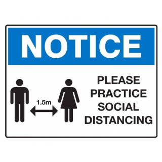 Aluminium Metal Indoor Outdoor Sign Notice - Please Practice Social Distancing