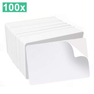 HID Fargo 82267 100 Pack Self Adhesive UltraCard CR-80 Mylar Backed White Cards