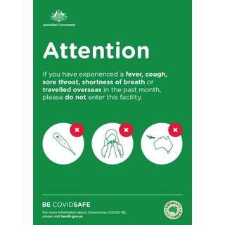 Social Distancing Entrance Wall Poster / Window Door Sticker / Corflute Sign - Fever, Cough, Sore Throat, Overseas