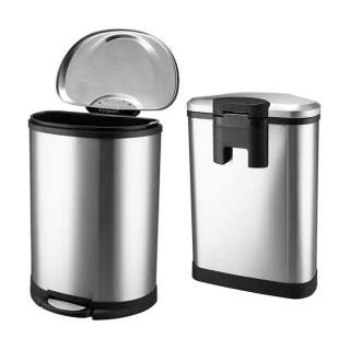Large Foot Pedal Rubbish Bin Trash Can Hands Free Opening Lid 50L Stainless Steel