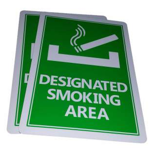 Designated Smoking Area Aluminium Sign Outdoor Weatherproof 315 x 220 mm