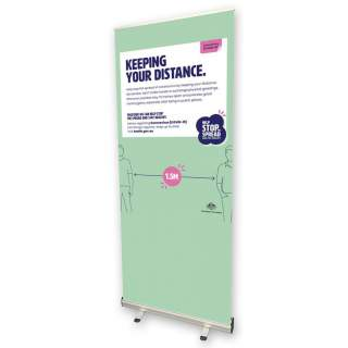 Social Distancing Pull Up Banner Sign - Keeping Your Distance