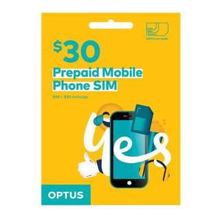 Optus $30 Prepaid Sim Card Starter Kit Pack