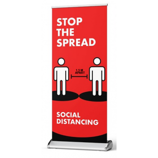 Social Distancing Pull Up Banner Sign - Stop The Spread - Social Distancing