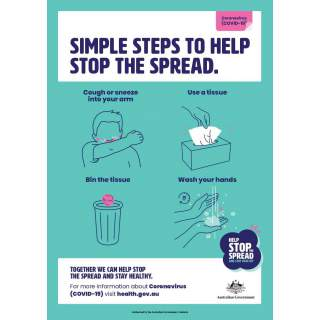 Social Distancing Entrance Wall Poster / Window Door Sticker / Corflute Sign - Simple Steps to Help Stop the Spread