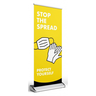 Social Distancing Pull Up Banner Sign - Stop The Spread - Protect Yourself