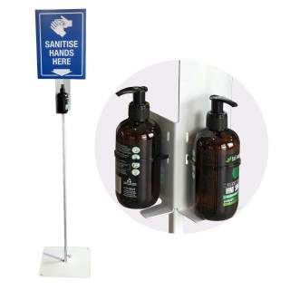 Hand Sanitiser Station Stand - Single & Dual Bottle Stands & Sign