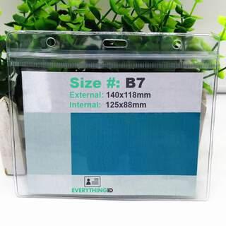 B7 Vinyl Card Holder Clear Horizontal Landscape Zip Lock Press Seal