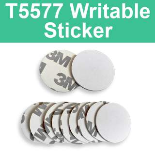 T5577 125KHz Writable 25mm 3M White Coin Sticker