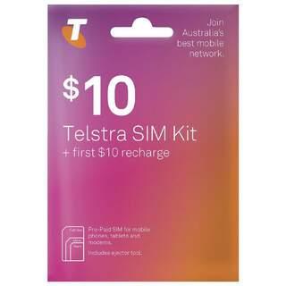 Telstra $10 Prepaid Sim Card Starter Kit Pack