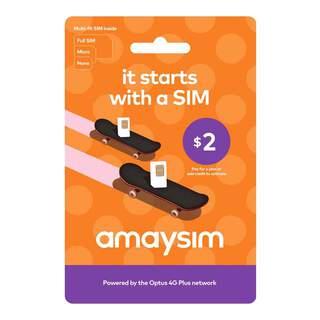 Amaysim $2 Prepaid Sim Card Starter Kit Pack