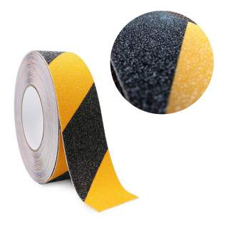Non Slip Anti Slip Coarse Hazard Safety Tape Black & Yellow 50mm x 5m