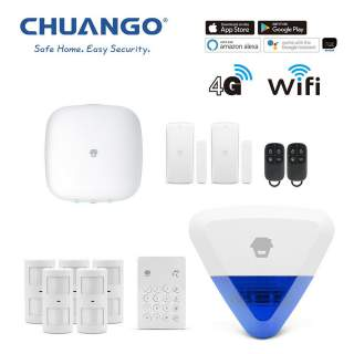 Chuango H4-LTE WiFi & 4G Wireless DIY Smart Home Office Security Alarm Deluxe Kit + Powered Siren