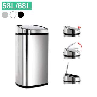Stainless Steel Black White Motion Sensor Automatic Hands Free Opening Lid Rubbish Bin 58L 68L