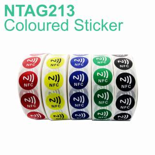 NFC Round Sticker Coloured NTAG213 Label with NFC Symbol (10 Pack)