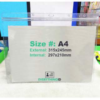 A4 Vinyl Document Wallet File Permit Certificate Protector Holder Clear Horizontal Landscape Zip Lock Press Seal