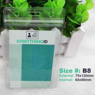 B8 Vinyl ID Card Holder Clear Vertical Portrait Zip Lock Press Seal