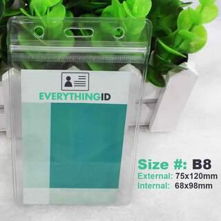 B8 Vinyl ID Card Holder Clear Vertical Portrait Zip Lock Press Seal