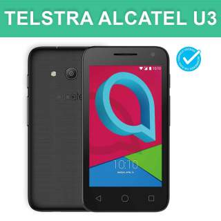 Telstra Alcatel U3 Blue Tick 3G Black Mobile Phone