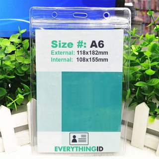 A6 Vinyl Large Card Holder Clear Vertical Portrait Zip Lock Press Seal