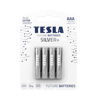 Tesla Future Silver+ AAA Alkaline Heavy Duty Batteries - 4 Pack