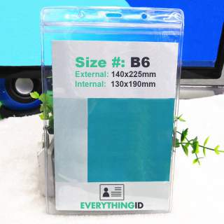 B6 Vinyl Large Accreditation Card Holder Clear Vertical Portrait Zip Lock Press Seal
