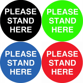 Social Distancing Floor or Carpet Sticker Indoor or Outdoor Marking Sign Decal - Please Stand Here Large Text