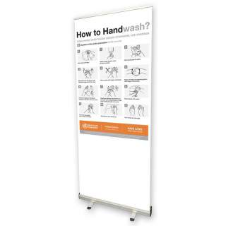 Social Distancing Pull Up Banner Sign - How to Hand Wash?