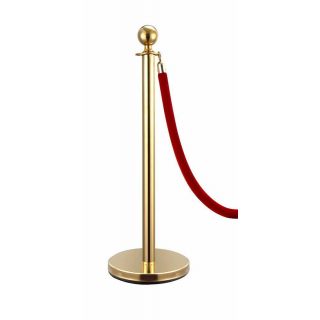 Gold Bollard and Red Velvet Rope Crowd Control Queue Barrier Pole Stanchion