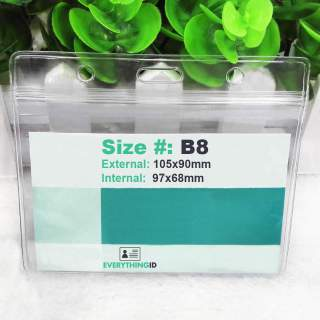 B8 Vinyl ID Card Holder Clear Horizontal Landscape Zip Lock Press Seal
