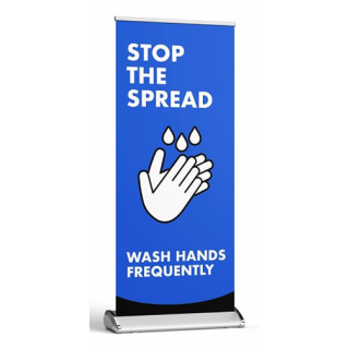 Social Distancing Pull Up Banner Sign - Stop The Spread - Wash Hands Frequently
