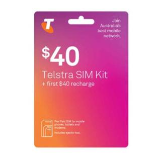 Telstra $40 Prepaid Sim Card Starter Kit Pack